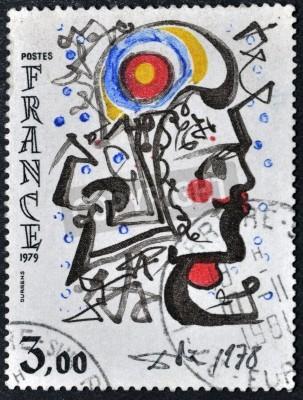Obraz FRANCJA - OKOŁO 1979: Stempel drukowane we Francji pokazuje rysunek Salvador Dala, circa 1979