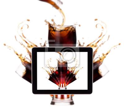 Fresh tło koks na cyfrowym tablecie
