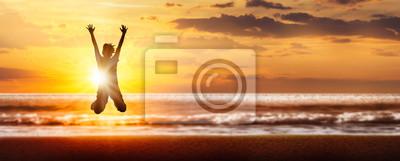 Obraz freudensprung silhouette am strand