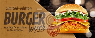Obraz Fried chicken burger banner ads