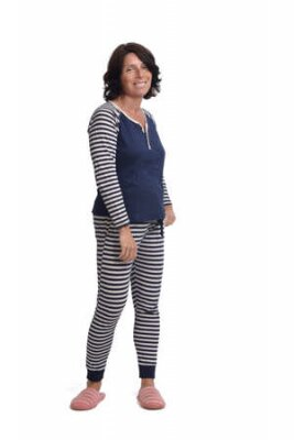 Obraz front view of a woman in pajamas on white background,