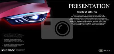 Frontowego widoku szablonu egzamin próbny w górę promocji z Czerwonym samochodem na ciemnym tle z logem i opisem w 3d wektoru ilustraci ,.