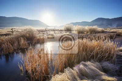 Frosty wschód s? O? Ca w Grand Teton National Park, Wyoming, USA.