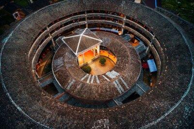 Fujian Tulou aerial closeup view