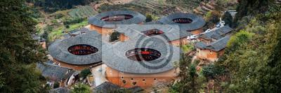 Fujian Tulou aerial panorama view
