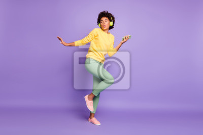 Obraz Full length body size view of nice attractive charming dreamy funky funny cheerful wavy-haired girl listening soul dancing having fun isolated over violet purple lilac pastel color background
