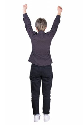 Obraz Full length rear view of businesswoman keeps arms raised up isolated over white background. Confident and happy female celebrating winning success. Freedom concept.