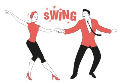 Obraz Funny couple wearing retro clothes dancing jazz, swing or rock and roll