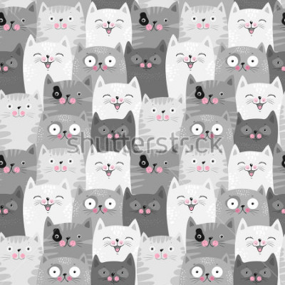 Obraz Funny grey cats, cute seamless pattern background