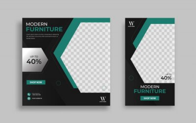 Obraz Furniture Editable minimal square banner template. Green black background color with geometric shapes for social media post, story and web internet ads. Vector illustration