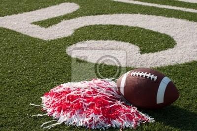 Obraz Futbol amerykański i Pom Poms na pole