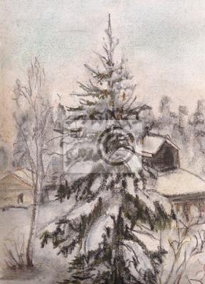 Obraz Futra drzewa w pobliżu domu