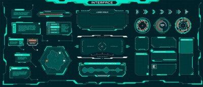 Obraz Futuristic ui elements. Sci-fi digital frames, arrows, callout titles, optical aim. Abstract cyberpunk virtual hud interface vector set. Dashboard display with menu window for game