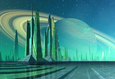 Obraz Futurystyczny Alien City - Grafika komputerowa