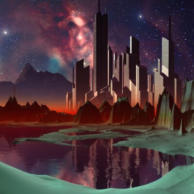 Obraz Futurystyczny Alien Miasto - Grafika Komputerowa
