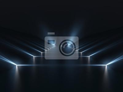 Obraz Futurystyczny ciemne podium z jasnym tle refleksji