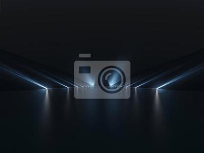Obraz Futurystyczny ciemny podium z tłem światła i refleksji