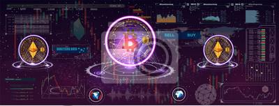 Futurystyczny, estetyczny design. Abstrakcyjna wizualizacja technologii bitcoin. Tło bitcoinowe z elementami HUD. Futurystyczny interfejs użytkownika dla aplikacji.