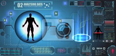 Futurystyczny interfejs HUD Sci Fi do aplikacji medycznej, futurystyczny interfejs medyczny HUD, wirtualny graficzny interfejs dotykowy z ilustracją Brain Scan, Heart Scan, DNA, Human Body, Molecule i