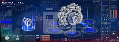 Futurystyczny interfejs projektowania hud. Ustaw wykresy i wykresy. Statystyka i dane, infografika informacji. 3D, elementy infographic. futurystyczny interfejs użytkownika.