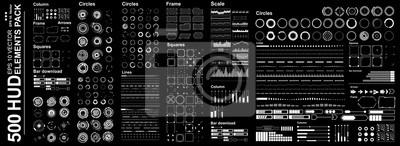 Obraz Futurystyczny wirtualny interfejs graficzny dotykowego użytkownika, zestaw Mega Futurystyczne elementy Hud