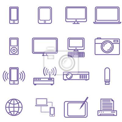 Gadżety i ikony zestaw technologii, styl liniowy. Ilustracji wektorowych w prostej konstrukcji linii.