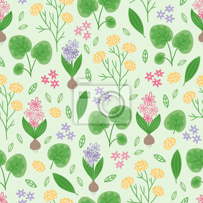 Gardening seamless pattern with flowers, leaves and branches