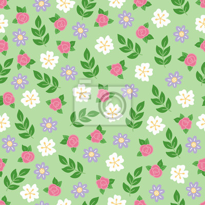 Gardening seamless pattern with roses, flowers and branches