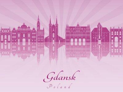 Obraz Gdańsk skyline fioletowy storczyk promieniowania
