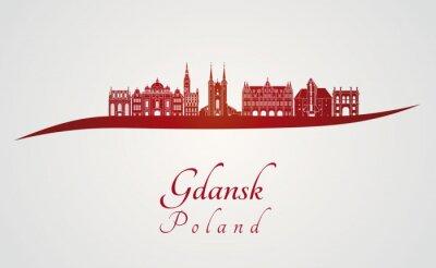 Obraz Gdańsk skyline na czerwono