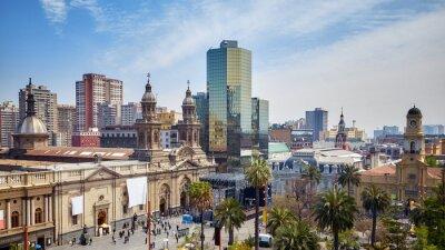 General view of Plaza de Armas, the main square of Santiago de Chile.