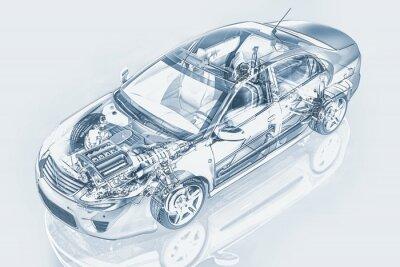 Obraz Generic sedan samochód szczegółowy przekrój reprezentacji, z duchów ef