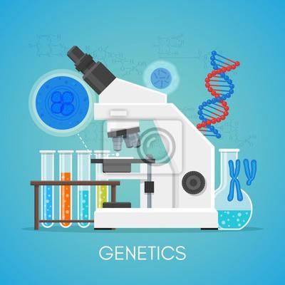 Genetyka science education concept vector plakat płaska stylu. Biologia sprzęt laboratoryjny szkoły