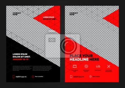 Obraz Geometria Red Broszura Szablon układu, tło projektu okładki, raporty roczne. Można dostosować do broszury, raportu rocznego, magazynu, plakatu, prezentacji korporacyjnej, portfolio, ulotki, baner, str