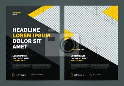 Obraz Geometria żółty i czarny Szablon układu broszury, tło projektu okładki, raporty roczne. Można dostosować do broszury, raportu rocznego, magazynu, plakatu, portfolio, ulotki, baneru.