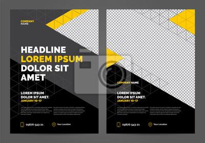 Geometria żółty i czarny Szablon układu broszury, tło projektu okładki, raporty roczne. Można dostosować do broszury, raportu rocznego, magazynu, plakatu, portfolio, ulotki, baneru.