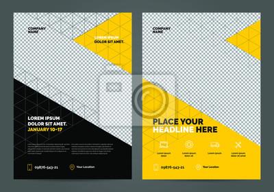 Obraz Geometria żółty Szablon układu broszury, tło projektu okładki, raporty roczne. Można dostosować do broszury, raportu rocznego, czasopisma, plakatu, ulotki, baneru, strony internetowej.