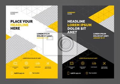 Geometria żółty Szablon układu broszury, tło projektu okładki, raporty roczne. Można dostosować do raportu rocznego, plakatu, ulotki, banera.
