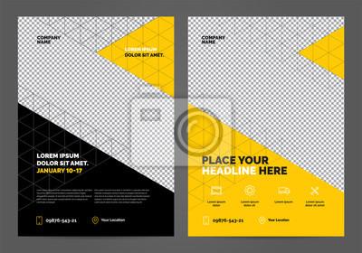 Obraz Geometria żółty Szablon układu broszury, tło projektu okładki, raporty roczne. Można dostosować do raportu rocznego, plakatu, ulotki, banera.