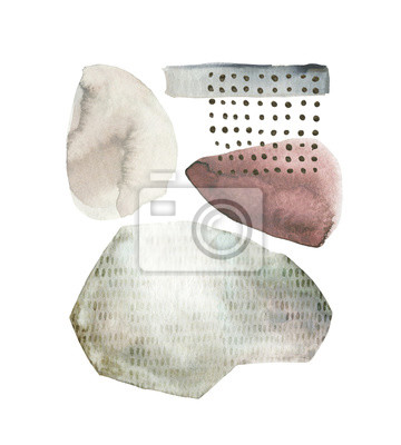 Geometric poster with watercolor, gold and marble elements on white background. Abstraction nordic geometrical print. Scandinavian style. Abstract contemporary modern trendy illustration. Mixed media