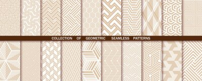 Obraz Geometric set of seamless gold and white patterns. Simple vector graphics