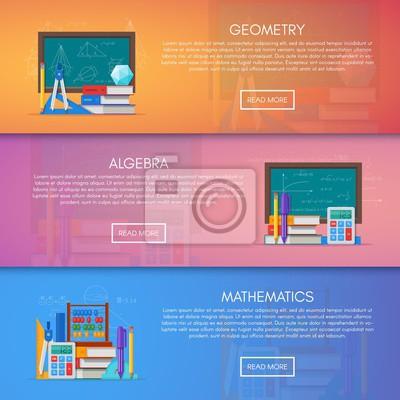 Geometrii, algebry i matematyki wektor banery. Nauka koncepcja edukacji plakat płaska stylu