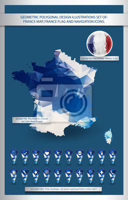 Geometryczne wielokąta ilustracje projektu Zestaw Francji