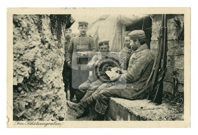 Obraz German historical photo postcard:  Soldiers in the trench Smoking pipes, playing cards. one holds a frying pan with food. In between attacks. world war one 1914-1918. Germany