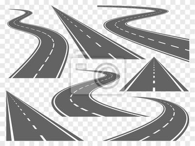 Obraz Gięcie drogi stały zestaw vector