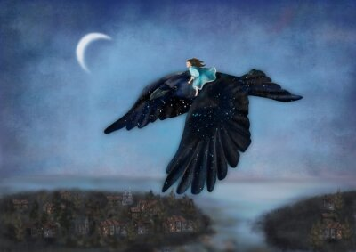 Obraz Girl flying on the starry crow