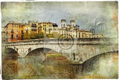 Girona, Hiszpania, zdjęcie retro artystyczny