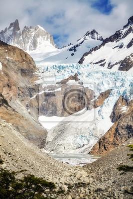 Glacier in the Fitz Roy Mountain Range, Los Glaciares National Park, Argentina.