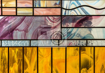 Obraz Glass stained glass with colorful graphic pattern, abstract trend stained glass background