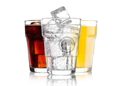 Obraz Glasses of cola and orange soda drink and lemonade